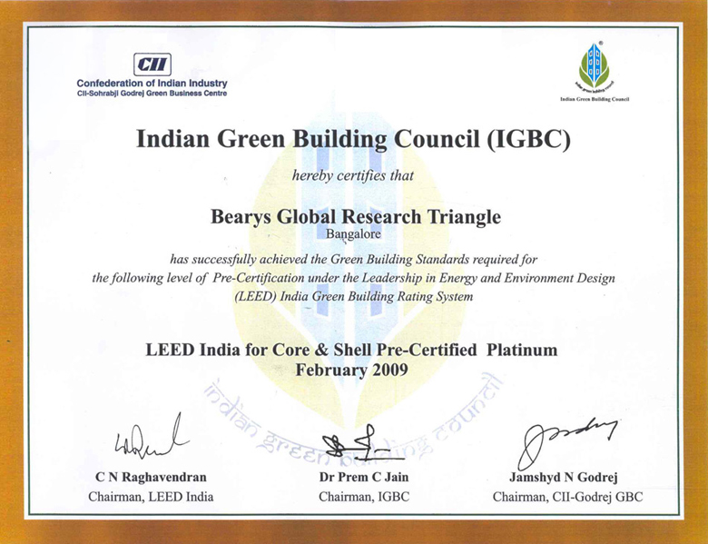 Bearys global research triangle for Leed certification benefits